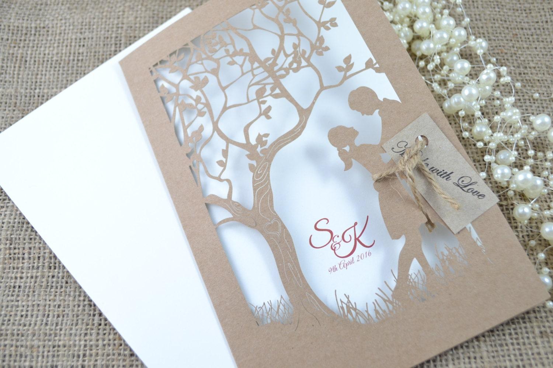 Laser Cut Out Wedding Invitations: Laser Cut Invitation Rustic Wedding Invitation By