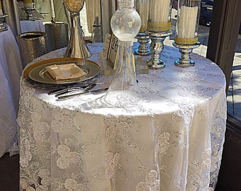 Sale gold embroidered lace table runner gold tablecloth sale white embroidered lace with silver sequence overlaylace tablecloth table runner junglespirit Images