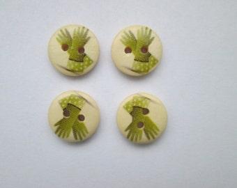 Gardening gloves 4 wooden buttons 15 mm Ø