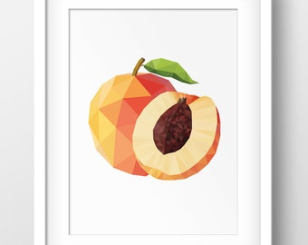 Peach Art Print, Geometric Peach Print, Peach Slice Half, Digital Wall Art, Origami Peach, Polygonal Peach, Triangle Peach, Peach Art,