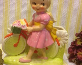 Cute Girl with Bike Planter 1960's INARCO, Made in Japan