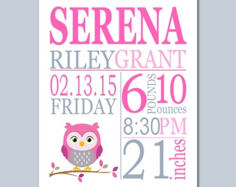 Owl Birth Print, Owl Birth Announcement,Pink & Gray Owl Birth,Owl Baby Shower Gift,Owl Nursery Decor,Owl Baby Gift- 8X10 DIGITAL OR PRINT
