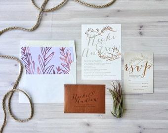 Qty 25 - Copper Calligraphy Wedding Invitations