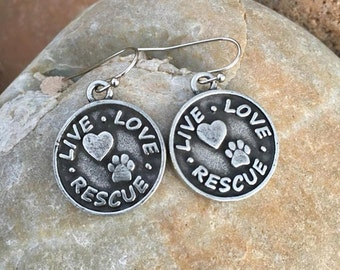 Live Love Rescue Earrings - Burnished Pewter