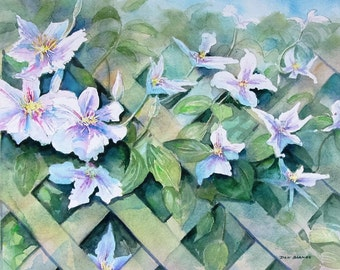 Original Watercolor Flower Painting, Rhododendron's Peeking Through The Fence.