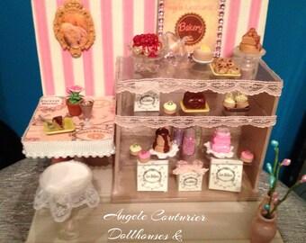 Bakery miniature bakery miniature room box cake chocolate lace furniture