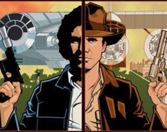 "Han Solo and Indiana Jones, ""Scoundrels"", Print - STAR WARS, Raiders of the Lost Ark 35th Anniversary"
