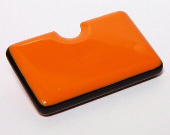 Orange Business Card Holder with black detail