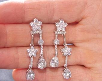 Bridal Earrings, Bridal Jewelry, Bridal Wedding Earrings, Bridesmaid Earrings, Wedding Jewelry, Wedding Earrings, Cubic Zirconia Earrings