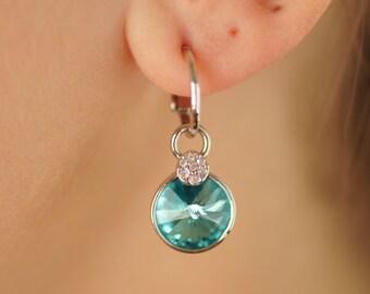 Swarovski Crystal Earrings, Round Crystal Earrings, Bridal Earrings, Bridesmaid Earrings, Wedding Earrings, Dangle Earrings, Wedding Jewelry