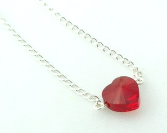 Red Heart Necklace - Crystal Heart Necklace - Swarovski Heart Necklace - Valentine Gift