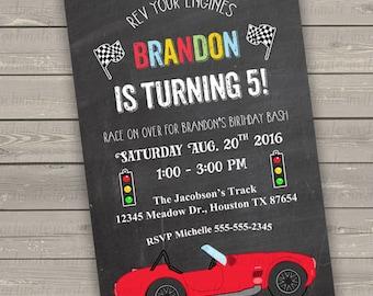 race car birthday invitation boy, red race car party invitation kids invitations printable, racing birthday party invites digital printed