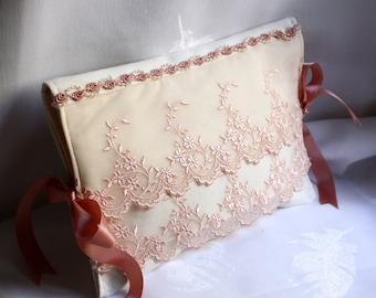 Pink pouch ivory reps, dark pink embroidered tulle, beads, ribbons satin rosettes