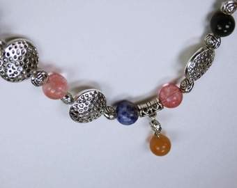 Gemstone necklace with colorful gemstone beads and silver color forming beads jewelry gemstones chakra healing jewelry