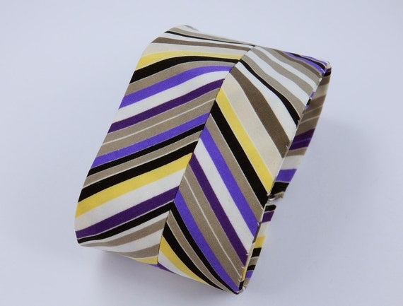 Wide bracelet of fabric with lines in purple white yellow grey and black unique jewelry decor modern bracelet fabric strap