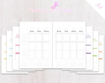 A4 Weekly Vertical Planner inserts Erin Condren style, vertical layout, box planner weekly,A4 planner