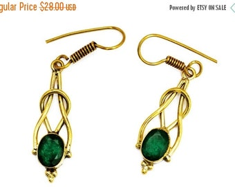 Brass Drop Earrings, Green Stone Earrings, Gemstone Earrings, Green Quartz Earrings, Brass Earrings, Dangle Earrings, Gold Earrings