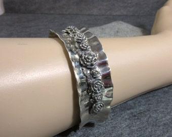 SALE Vintage, Silver, Rose, Cuff, Bracelet, Israel, Flowers, Hammered, Wavy, Leaves, Handmade