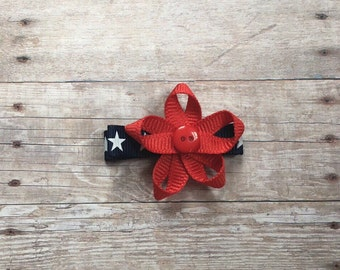 Red white and blue hair bow, 4th of July bow, alligator clip, star bow