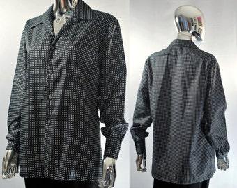 Black dress shirt mens 70s