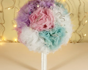 Fabric Bridal Wedding Bouquet in White, Pink, Lilac and Mint with Freshwater Pearls and Czech Crystals DEPOSIT UK Handmade