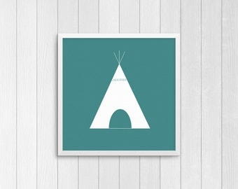 Teal Tipi, square 10x10, 8x8, & 5x5 Art Decor Digital Print