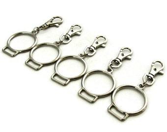 Silver Tassel Tops / Silver Tassel Hardware / Silver O-Rings / Silver Keychains / Silver Key Rings / Silver Key Chain / SET OF FIVE