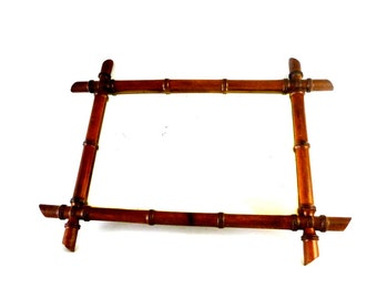 French Vintage Faux Bamboo Mirror / Vintage Wooden mirror / Shabby chic mirror