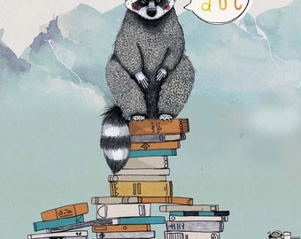 Clever Racoon / 28 x 20 cm Print