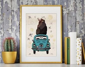 "It's Home // A4 (8""x11"") Print, Artprint, Bear, Poster, Grizzly"