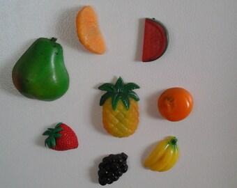Big Fruit Refrigerator Magnets, 8 Vintage Fruit Refrigerator Magnets