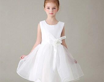Wedding bridal flower girl dress, White Princess party dresses,Satin toddler Tulle TuTu dress, fluffy prom wear, Kids Junior Bridesmaid Gift