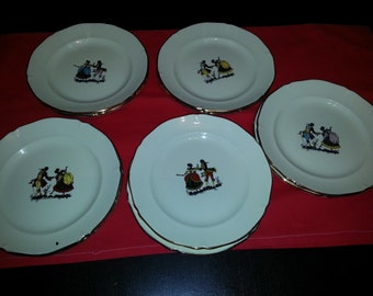 Lot 10 plates collector theme Marquis Marquise gold trim