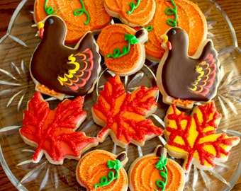 Fall Cookies - Fall Leaves - Turkey Cookies - Pumpkin Patch Cookies - Thanksgiving Cookies - Halloween Cookies - 1 Dozen!