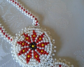 Indian style pendant red/white love beads
