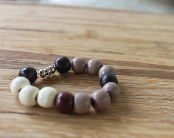 Wooden Bead Child Emergency Bracelet, Brown and white bracelet, Kids ID bracelet, Security Bracelet, Phone Number Bracelet