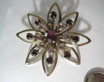Vintage Costume Brooch with Purple Gemstones
