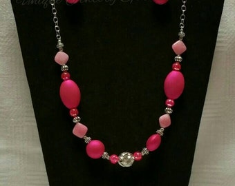 Pink Beaded Necklace Set