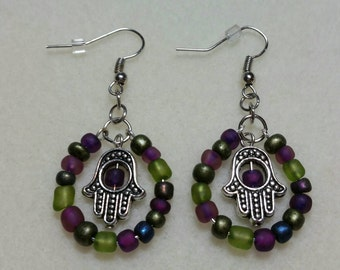 Hamsa Hand Purple and Green sead Bead Earrings