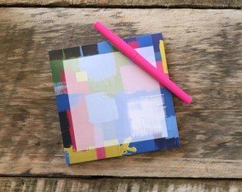 "Mavec Collections Single Abstract Notepad- 5.25""Square, Blue/Green/Pink"
