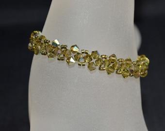 Bracelet khaki end Swarovski crystal ab
