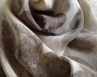 Crepe de Chine silk scarf with eco-print rose leaves as a natural dye