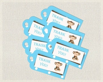 Printable Monkey Favor Thank You Tags Blue Polka Brown |  Favors Tags  Baby Shower Boy BS-130