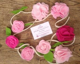 Flower garland bunting, home, nursery, photoshoot, birthday decor