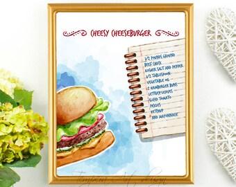 Cheeseburger Print, Kitchen Art, Kitchen Print, Food Art, Food Print, Cheeseburger Recipe, Meal Art, Eat Your Burger, Burger Printable Art