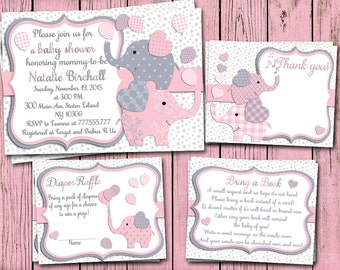Pink grey Elephant baby shower printable invitation set baby girl digital invite with inserts thank you bring a book Diaper Raffle card