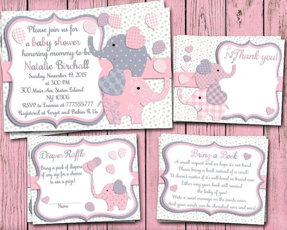 pink grey elephant baby shower printable invitation set baby girl