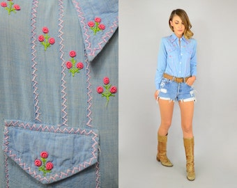 70's Rose Embroidered Chambray EMBROIDERED FLORAL bohemian hippy Blouse Shirt Top XS/S