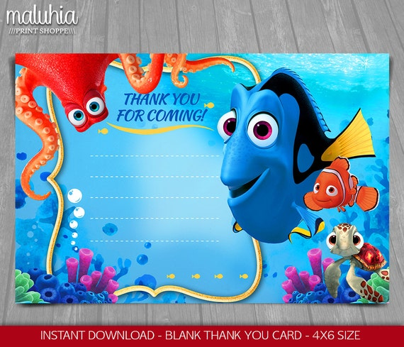 nemo cake template - finding dory thank you card instant download finding nemo