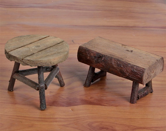 Miniature Wooden Chairs Terrarium Accessory Mini Raw Wood